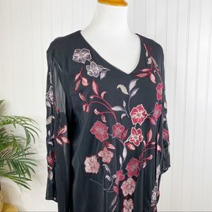 Alfani Black Red Embroidered Blouse XL